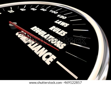 Compliance Rules Laws Regulations Speedometer 3d Animation