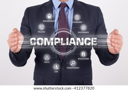 COMPLIANCE TECHNOLOGY COMMUNICATION TOUCHSCREEN FUTURISTIC CONCEPT - stock photo