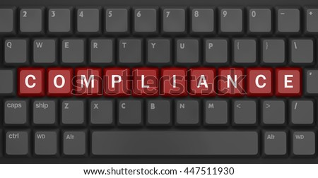 compliance text, Computer keyboard with compliance key - technology background, 3d rendering - stock photo