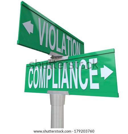 Compliance Violation Two Way Street Signs Direction Follow Rules - stock photo