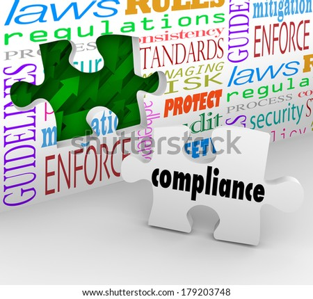 Compliance Wall Hole Puzzle Piece Follow Rules Laws  - stock photo