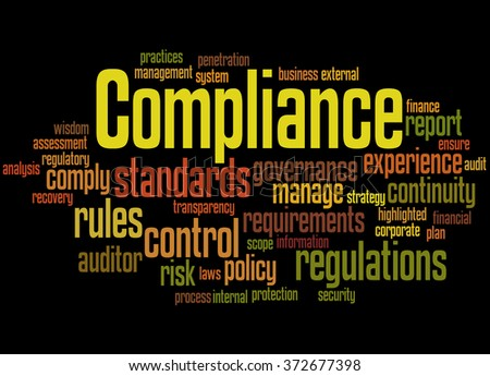 Compliance, word cloud concept on black background.