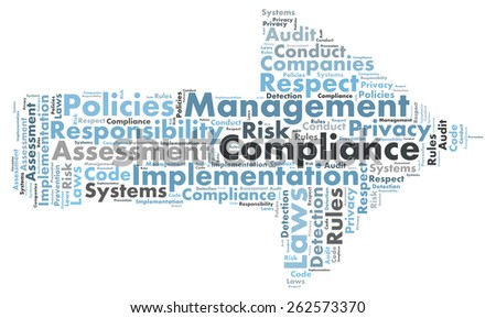 Compliance word cloud shaped as a arrow to the right - stock photo