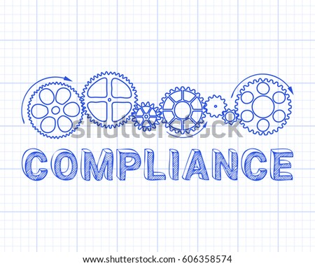 Compliance word with gear wheels on graph paper background illustration