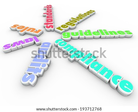 Compliance words pattern rules, laws, audits, regulations guidelines - stock photo