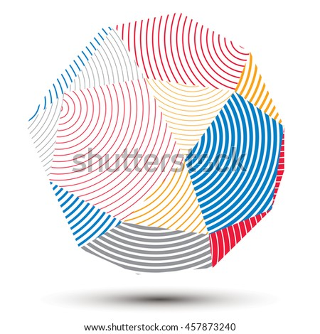 complicated 3d figure, modern digital technology style form. Abstract stripy bright three-dimensional object.  - stock photo