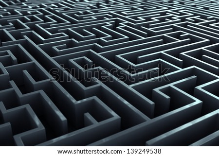 Complicated labirynth corridors. - stock photo