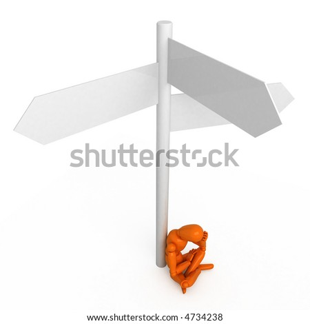 Complicated question for orange mannequin - stock photo