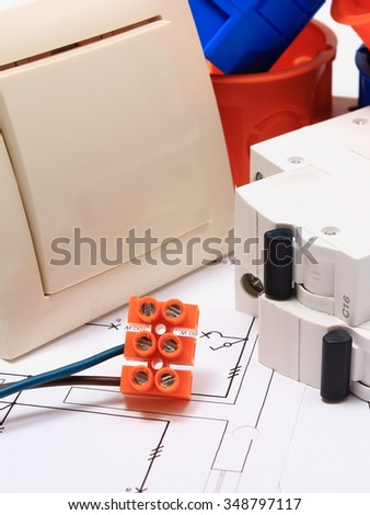 Components for use in electrical installations and electrical diagrams, accessories for engineering work, energy concept