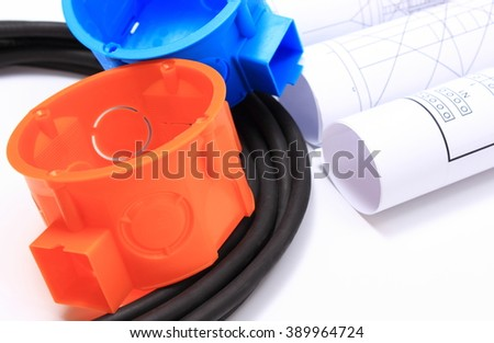 Components for use in electrical installations and rolls of electrical diagrams, accessories for engineering work, energy concept