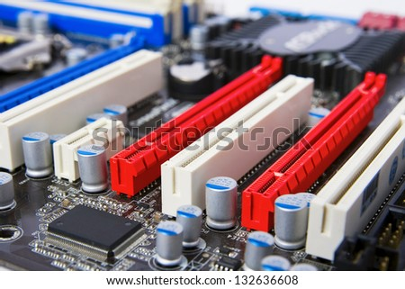 components in a computer motherboard - stock photo