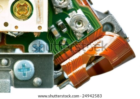 Components of DVD drive macro - stock photo