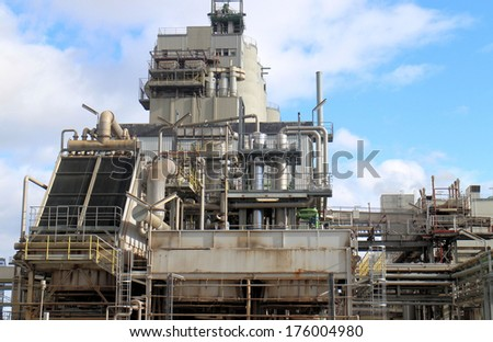 Components of the energy section of a chemical plant - stock photo