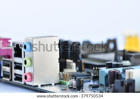 Components on board. PCB to PC. Chip, capacitor and connectors on the motherboard of a personal computer. Modern technological background. - stock photo