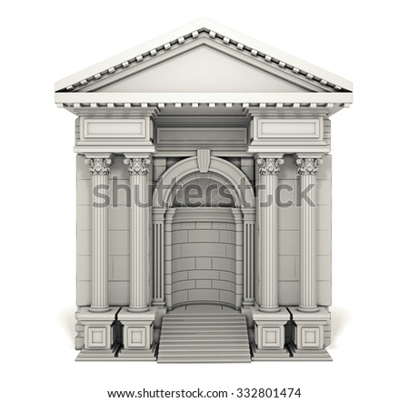 Composite Antique Entrance Column Arc Isolated on White - stock photo