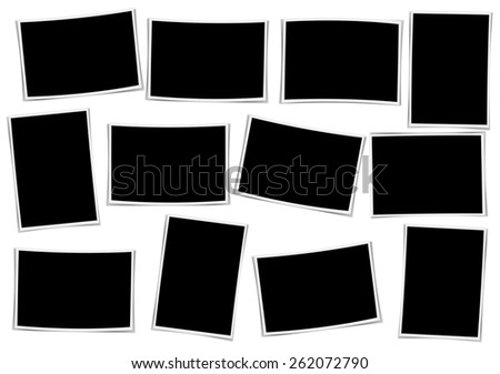 Composite empty photo frame with places for photo - stock photo