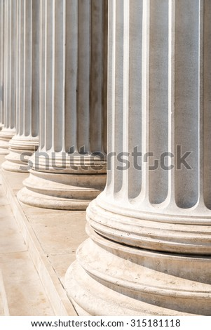 Composite Greek Style Columns Row - stock photo
