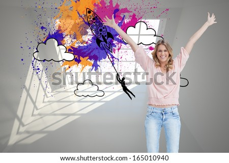 Composite image of a full length shot of a smiling woman who has her arms raised up - stock photo