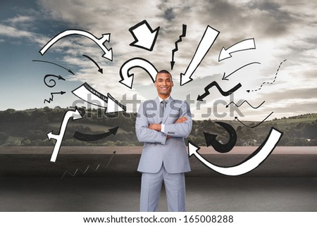Composite image of assertive businessman on phone - stock photo