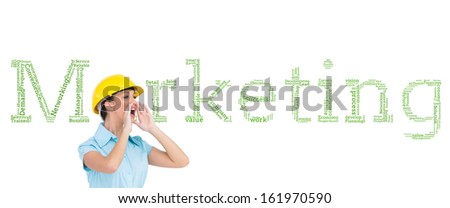 Composite image of attractive architect shouting at workers