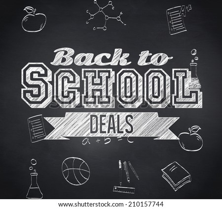 Composite image of back to school deals message against blackboard - stock photo