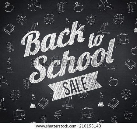 Composite image of back to school sale message against blackboard - stock photo