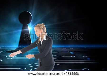 Composite image of blonde businesswoman pulling a rope