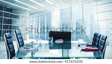 Composite image of boardroom on a building