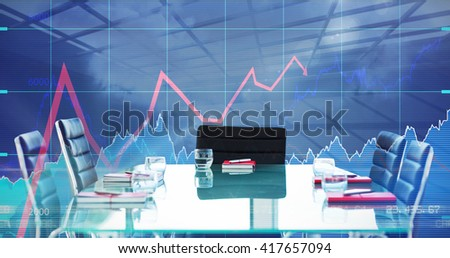 Composite image of boardroom on a modern background - stock photo