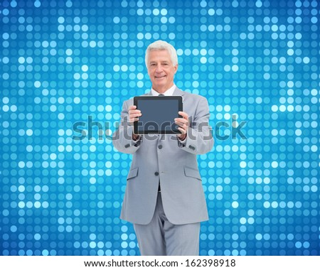 Composite image of boss showing a touch pad screen  - stock photo