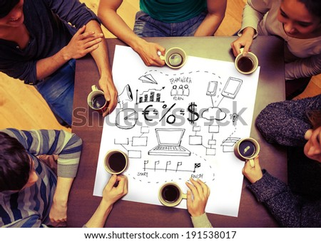 Composite image of brainstorm graphic on page with people sitting around table drinking coffee