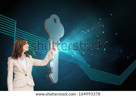 Composite image of brunette attractive businesswoman pulling