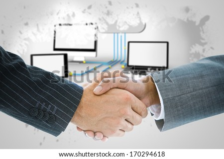 Composite image of business handshake against city on the horizon