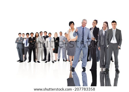 Composite image of business people on white background