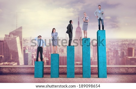 Composite image of business people standing on bar chart depicting growth - stock photo