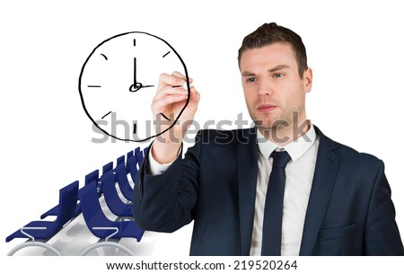 Composite image of business person drawing a black clock