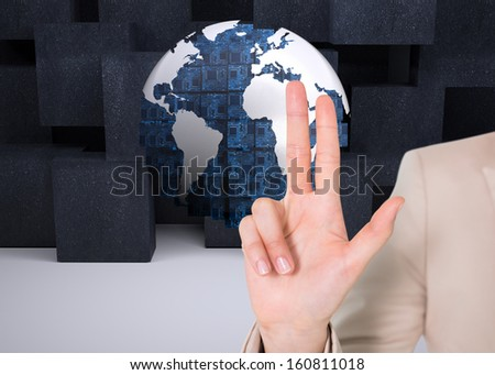 Composite image of businesswoman touching