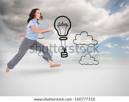 Composite image of cheerful classy businesswoman on white background jumping while holding clipboard - stock photo