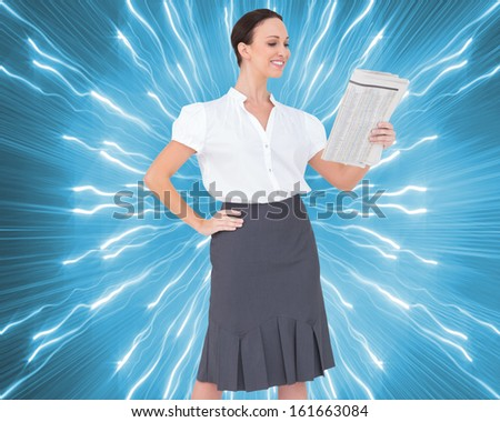 Composite image of cheerful stylish businesswoman holding newspaper while posing - stock photo