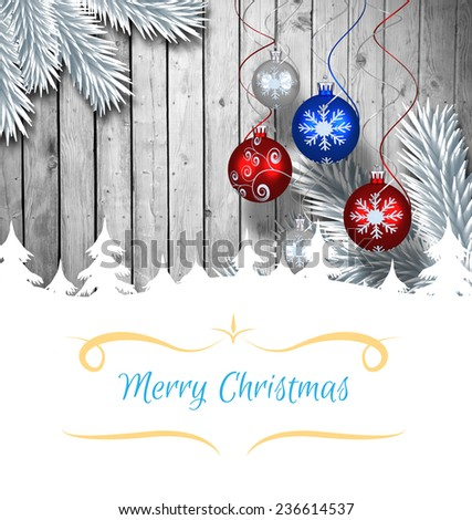 Composite image of christmas card against christmas baubles hanging over wood