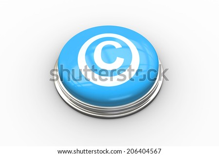Composite image of copyright symbol graphic on shiny blue push button