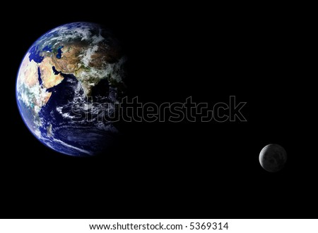 Composite image of earth and moon. Moon orbiting earth. Source images courtesy of NASA - stock photo