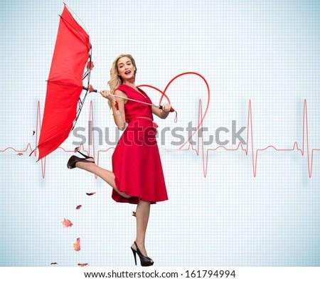 Composite image of elegant happy blonde holding umbrella - stock photo