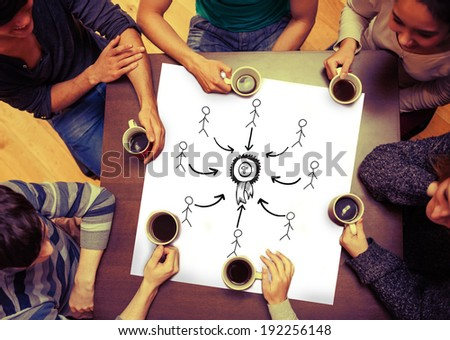 Composite image of first place doodle with stick figures on page with people sitting around table drinking coffee - stock photo