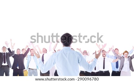 Composite image of gesturing businessman celebrating - stock photo