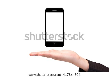 Composite image of hand holding a phone on a white background - stock photo