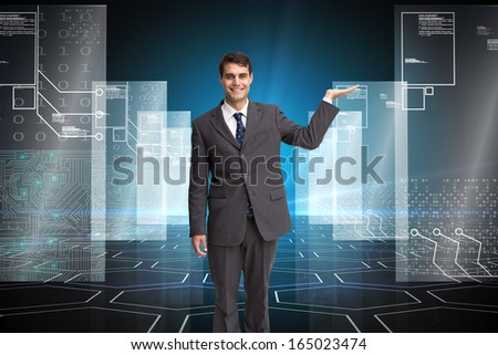 Composite image of happy attractive businessman presenting