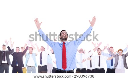 Composite image of happy cheering businessman raising his arms in the air - stock photo