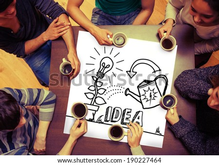 Composite image of idea and innovation graphic on page with people sitting around table drinking coffee - stock photo