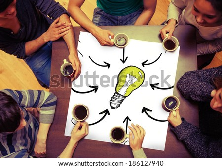 Composite image of idea doodle on page with people sitting around table drinking coffee - stock photo